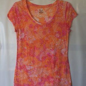 Pretty exertek top orange and pink